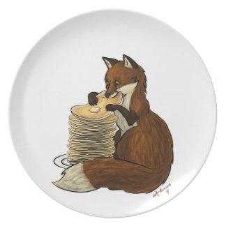 Placa del Fox de la crepe Plato Para Fiesta
