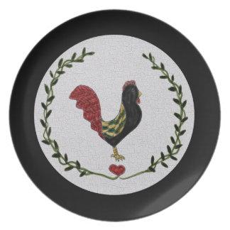 Placa del gallo del arte popular y de la guirnalda plato de cena
