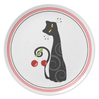 Placa del gato de la cereza plato de cena