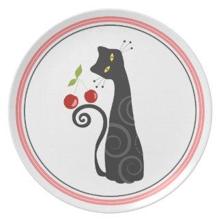 Placa del gato de la cereza platos de comidas