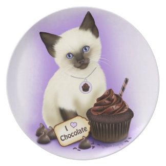 Placa del gato de la magdalena del chocolate plato de cena