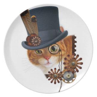 Placa del gato de Steampunk Platos Para Fiestas
