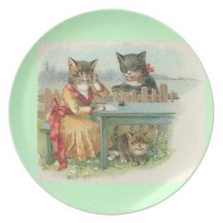 placa del gato del arte del vintage platos para fiestas