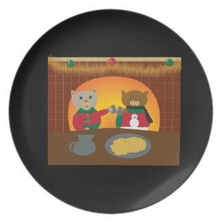 Placa del gato del navidad plato para fiesta