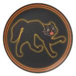 Placa del gato negro de Halloween del vintage Plato De Comida