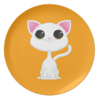 Placa del gato plato de cena
