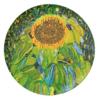 Placa del girasol de Gustavo Klimt Plato De Comida