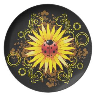 Placa del girasol de la mariquita platos para fiestas