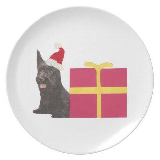 Placa del gorra de Santa de la caja de Terrier del Plato De Cena