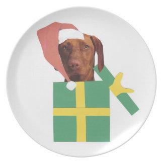 Placa del gorra de Santa del perro de Vizsla Plato