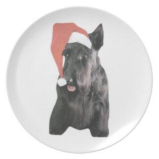 Placa del gorra de Terrier Santa del escocés Platos De Comidas