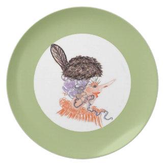 placa del gorra del castor plato de cena