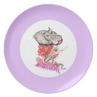 Placa del gorra del hipopótamo plato de comida