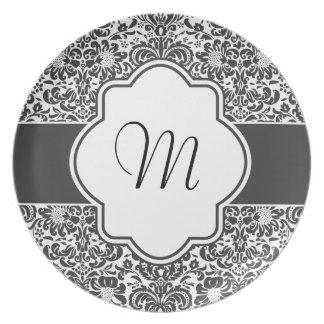 Placa del gráfico del monograma del damasco platos