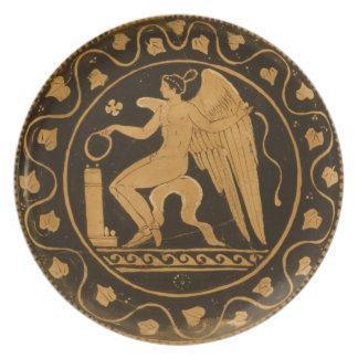 Placa del griego clásico platos de comidas
