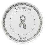 Placa del héroe de la amputación platos para fiestas