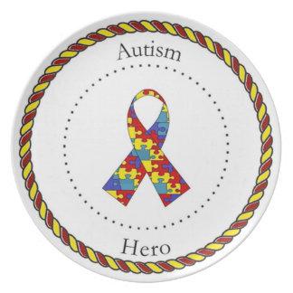 Placa del héroe del autismo platos