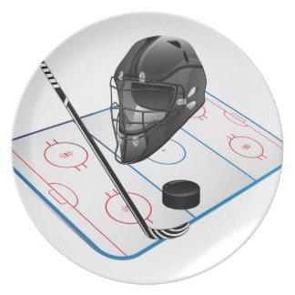 Placa del hockey sobre hielo platos para fiestas