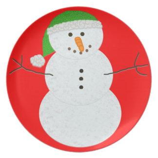 Placa del hombre de la nieve platos de comidas