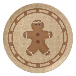 Placa del hombre de pan de jengibre plato de comida