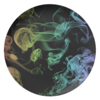 Placa del humo del arco iris platos