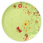Placa del jardín de la mariposa plato de comida