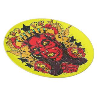 Placa del jugador del demonio plato para fiesta