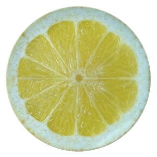 Placa del limón plato de cena