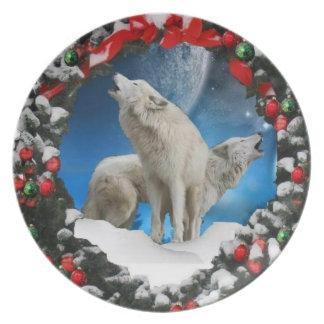 Placa del lobo del invierno del día de fiesta platos para fiestas