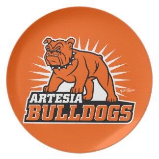 Placa del logotipo de los dogos de Artesia Plato Para Fiesta
