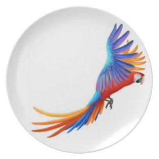 Placa del loro del Macaw del vuelo Plato De Cena