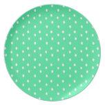 Placa del lunar de la verde menta y del blanco platos para fiestas