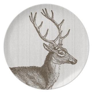 Placa del macho de los ciervos del vintage plato de comida