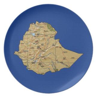 Placa del mapa de Etiopía Plato
