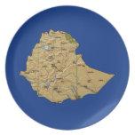 Placa del mapa de Etiopía Plato Para Fiesta