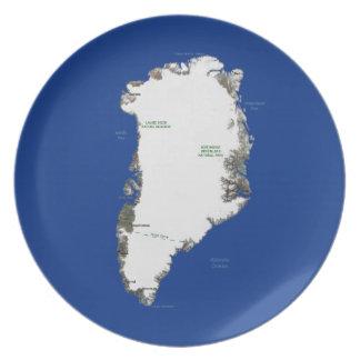 Placa del mapa de Groenlandia Platos Para Fiestas