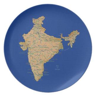 Placa del mapa de la India Platos Para Fiestas