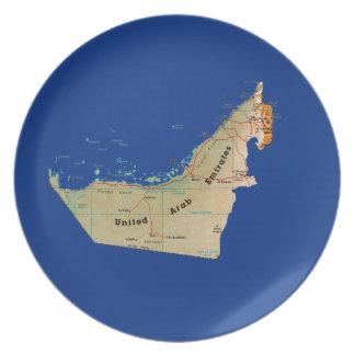 Placa del mapa de los UAE Plato De Comida
