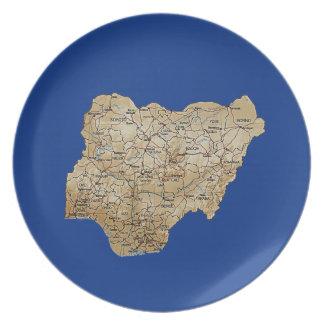 Placa del mapa de Nigeria Platos Para Fiestas