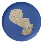 Placa del mapa de Paraguay Plato De Cena
