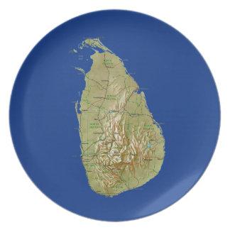 Placa del mapa de Sri Lanka Plato