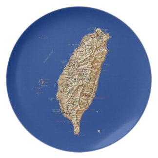 Placa del mapa de Taiwán Platos