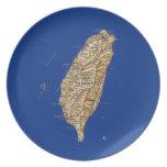 Placa del mapa de Taiwán Platos Para Fiestas