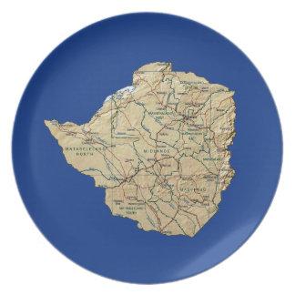 Placa del mapa de Zimbabwe Platos