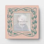 Placa del marco de Nouveau en rosa y turquesa