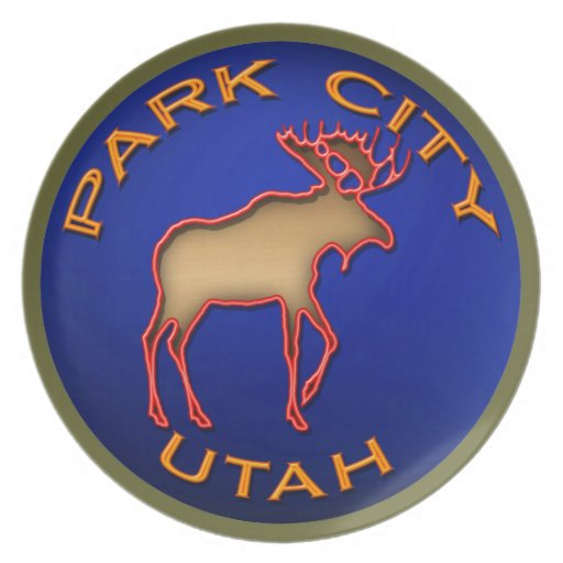 Placa del medallón de los alces de Park City Plato De Comida