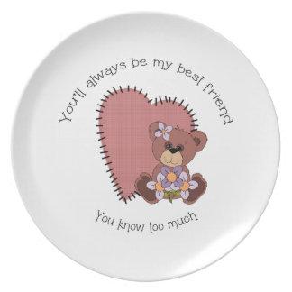 Placa del mejor amigo con el oso plato de cena