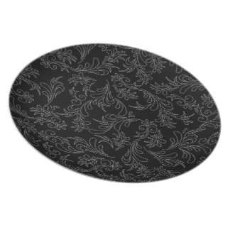 Placa del modelo de la puntada del negro del tema plato de comida