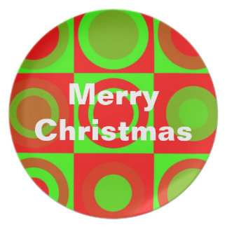 Placa del modelo de las Felices Navidad Plato Para Fiesta