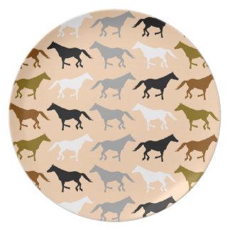 Placa del modelo del caballo platos de comidas